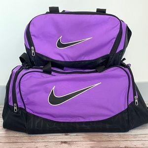 Nike brasilia set 2 duffle bags purple overnight